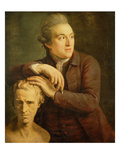 Joseph Nollekens (1737-1823) with His Bust of Laurence Sterne (1713-68) 1772 (Oil on Canvas) Giclee Print by John Francis Rigaud