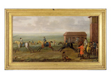 Lord Portmore Watching Racehorses on Exercise on Newmarket Heath, c.1735 Premium Giclee Print by John Wootton