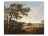 Italian River Scene with Figures Reproduction procédé giclée par Richard Wilson