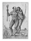 Brazilian Indian Man, Woman and Child (Engraving) Giclee Print by John White