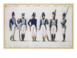 French Royal Guard, 1816 (Gouache) Giclee Print by Pierre Antoine Lesueur