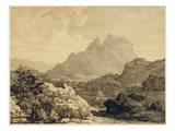 Mountainous Landscape, C.1780 (Grey and Brown Wash on Paper Prepared with Brown Ground) ジクレープリント : アレクサンダー・カズンズ