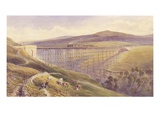 Belah Viaduct, 1869 (W/C and Gouache with Pen and Ink on Paper) Premium Giclee Print by John Osborn Brown