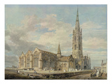 North-East View of Grantham Church, Lincolnshire, C.1797 (W/C over Graphite on Paper) Reproduction procédé giclée