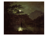 A Lake by Moonlight, c.1780-82 Giclee Print by Joseph Wright Of Derby