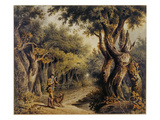 Forest Scene with Woodman and Dog (W/C on Paper) Giclee Print by Thomas Barker of Bath