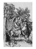 The Flight into Egypt (Engraving) Giclee Print by Martin Schongauer