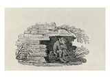 Seated Man Sheltering 'History of British Birds and Quadrupeds' (Engraving) Giclee Print by Thomas Bewick