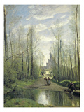 The Church at Marissel, 1866 (Oil on Canvas) Giclee Print by Jean Baptiste Camille Corot