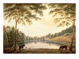 A View of the Lake and Ruins of the Abbey at Painshill, Surrey Giclee Print by G. Barrett