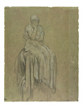 Study for Solitude, C.1890 (Chalk on Paper) Giclee Print by Frederick Leighton