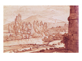 Landscape with a River, a Herd of Cattle and a Herdsman (Pen, W/C and Bistre Wash) Premium Giclee Print by Claude Lorrain