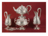 Teaset with Chased Decoration, in the French Style, London, 1874-75 (Silver) Giclee Print by  English
