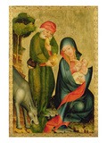 Rest on the Flight to Egypt, Detail from the Grabow Altarpiece, 1379-83 (Tempera on Panel) Giclee Print by  Master Bertram of Minden