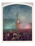 The Unveiling of the Nicholas I Memorial in St. Petersburg, 1857 (Oil on Canvas) Giclee Print by Vasili Semenovich Sadovnikov
