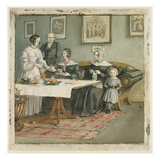 Professor Johannes Classen (1805-91) and Family, 1840 (W/C on Paper) Giclée-Druck von Carl Julius Milde