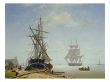 Ships in a Dutch Estuary, 19th Century Giclee Print by W.A. van Deventer