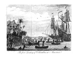 The First Landing of Columbus at America (Engraving) (B&W Photo) Giclee Print by  English