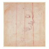 Study for the Head of the Libyan Sibyl (Black Chalk on Paper) (Verso) Giclee Print by  Michelangelo Buonarroti