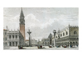 Piazzetta Di San Marco (Coloured Engraving) Giclee Print by Giovanni Pividor