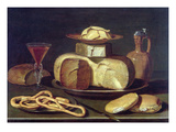 Still Life with Bread, Cheese, Wine and Pretzels Giclee Print by Osias The Elder Beert