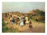 Harvesters on their Way Home, 1881 Giclee Print by Lajos Deak Ebner