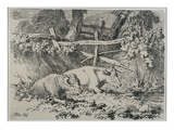 Cattle Resting, 1807 (Pen and Ink on Paper) Giclee Print by Robert Hills