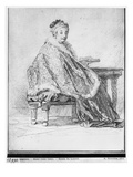 Russian Woman at a Table Holding a Book in Her Hand (Pierre Noire and Redchalk on Paper) Giclee Print by Jean Baptiste Leprince