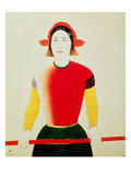 Girl with a Pole (Oil) Lámina giclée por Kazimir Severinovich Malevich