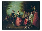 Rural Entertainment (Oil on Canvas) Reproduction procédé giclée par Nicolas Lancret