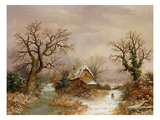 Little Red Riding Hood in the Snow, 19th Century Premium Giclee Print by Charles Leaver