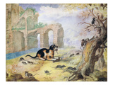 Cat Killing Mice in a Landscape (Pen and Ink with Wash on Paper) Giclee Print by Gottfried Mind or Mindt