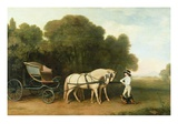 A Phaeton with a Pair of Cream Ponies in the Charge of a Stable-Lad, C.1780-5 (Oil on Panel) Giclée-Druck von George Stubbs