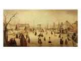 The Pleasures of Winter (Oil on Panel) Giclée-tryk af Hendrik Avercamp