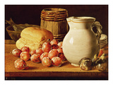 Still Life with Plums, Figs, Bread and Fish Giclee Print by Luis Egidio Melendez