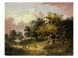 Wooded Landscape with Woman and Child Walking Down a Road (Oil on Panel) Giclee Print by Robert Ladbrooke