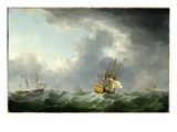English Ships Running before a Gale Giclee Print by Charles Brooking