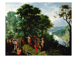 St. John the Baptist Preaching in the Wilderness (Oil on Panel) Giclee Print by Pieter Schoubroeck