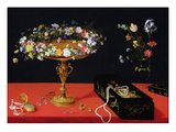 A Still Life of a Tazza with Flowers (Oil on Panel) Giclee Print by Jan the Younger Brueghel