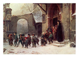 Snow Scene: Children Leaving School, C.1853 Giclee Print by Marc Louis Benjamin Vautier