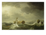 Ship Wrecked on a Rocky Coast, c.1747-50 Giclee Print by Charles Brooking