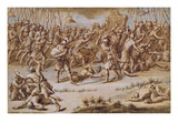 Illustration to 'The Iliad', 1760S (Pen and Ink, Wash and Gouache on Laid Paper) Giclee Print by  Rysbrack