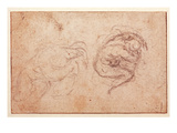Study of a Crouching Figure (Black Chalk on Paper) (Recto) Giclee Print by  Michelangelo Buonarroti