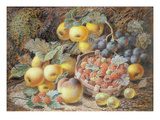 Still Life of Apples, Grapes, Raspberries, Gooseberries and Peach Giclee Print by Oliver Clare