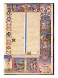 Fol.6R Genesis. Creation of Adam and Eve, from the Borso D'Este Bible. Vol. 1 (Vellum) Premium Giclee Print by  Italian