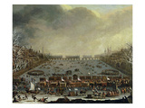 The Frost Fair of the Winter of 1683-4 on the Thames, with Old London Bridge in the Distance C.1685 Giclee Print by  English
