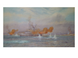 H.M.S. Albion Commanded by Capt. A. Walker-Heneage Completing the Destruction of the Outer Forts Giclee Print by Alma Claude Burlton Cull