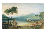 Lake Geneva and Mont Blanc, 1802-5 (W/C with Scraping Out, Pen and Ink on Wove Paper) Gicléedruk van J. M. W. Turner
