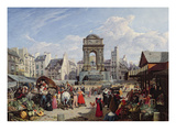 The Market and Fountain of the Innocents, Paris, 1823 Giclee Print by John James Chalon