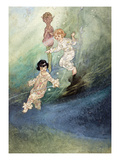 Untitled Watercolour, Children Underwater with an Elf Giclee Print by Charles Robinson